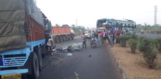 Odia Migrants Bus Accident At NH 16 Tangi, Truck Driver Dead