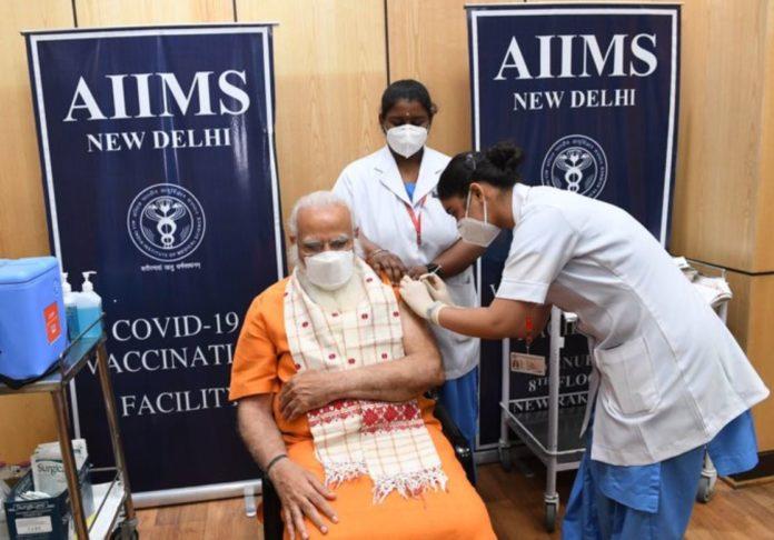 Prime Minister Narendra Modi takes his second dose of COVID19 vaccine at AIIMS